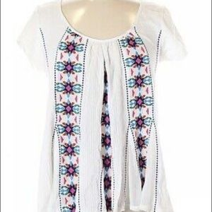 Anthropologie White Floral Embroidered Boho Blouse
